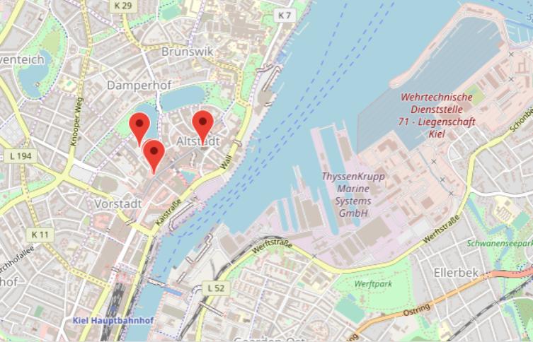 På kartan ser ni julmarknaderna i Kiel